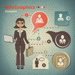 Set of elements for infographics with business woman