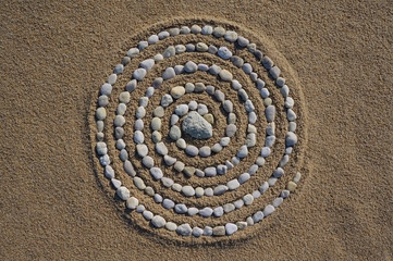 Landart Zen, Spirale aus Kieselsteinen