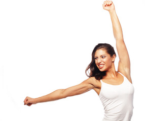 Happy fitness dancing.