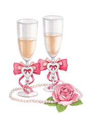 Watercolor iluustration of wedding champagne glasses
