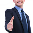 business man hand shake focus