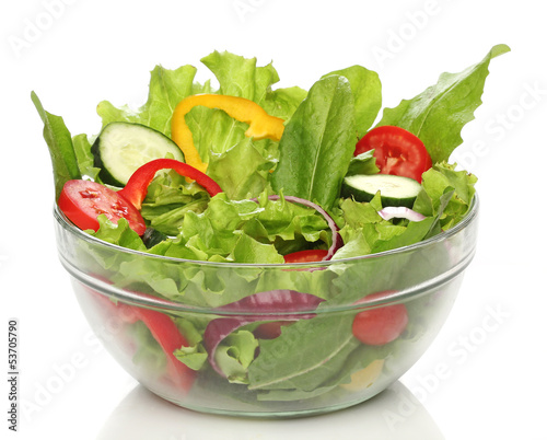 Aluminium Salade Delicious salad on a bowl isolated over white