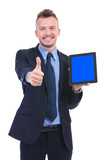 business man shows tablet and thumb up