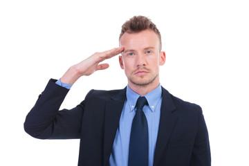 business man salutes you