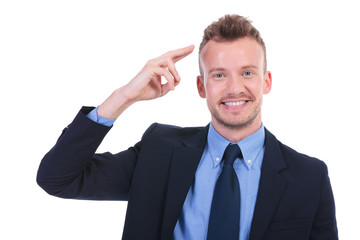 business man salutes with two fingers