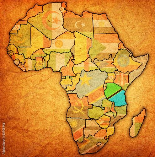 Fototapeten,tansania,afrika,karte,fahne
