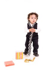 little boy wearing a tie