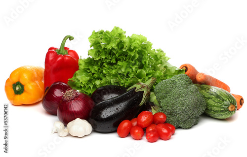 Delicious group of healthy vegetables over white