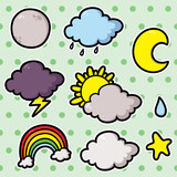 Collection of cute cartoon vector weather icons