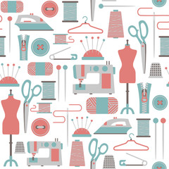 seamless pattern with sewing icons