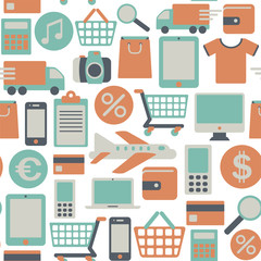 seamless pattern with web shopping icons