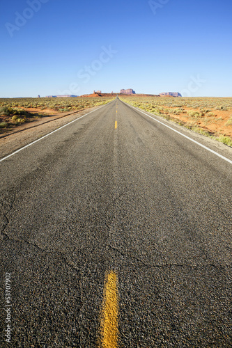 Poster vertical view of long american road, USA