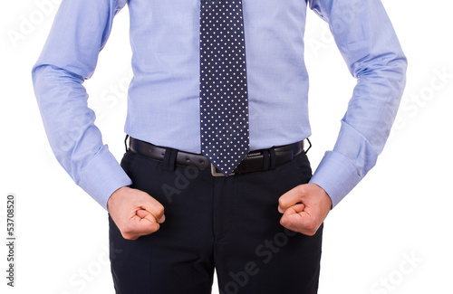 Businessman with clenched fist.