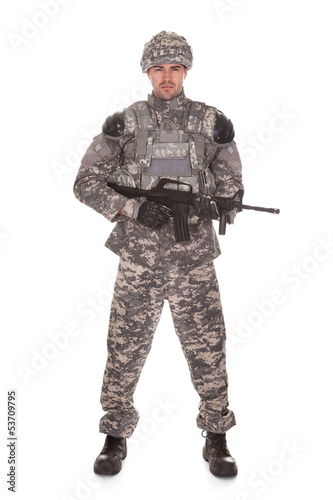 Portrait Of Soldier With Rifle