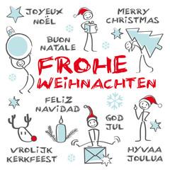 Fröhliche Weihnachten, mehrsprachig, Greeting Carde