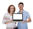 Young Couple Holding Laptop