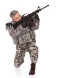 Mature Soldier Aiming With Rifle