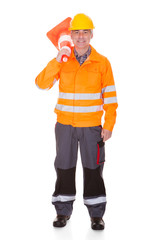 Man Showing Traffic Cone
