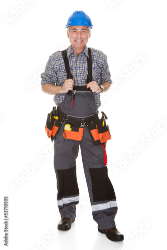 Mature Worker Man With Toolbelt