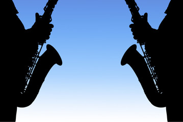 """The black silhouette of the saxophone on a blue background"""
