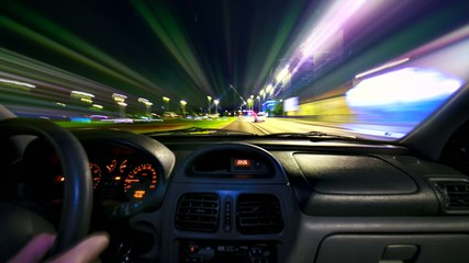 Car driving Rush hour Traffic in city time lapse night