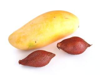 Mango and salak isolated on white background