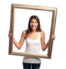 young woman holding a frame