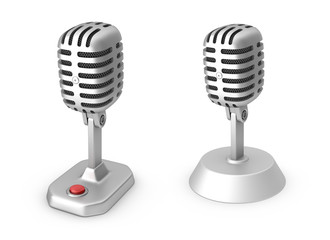 Retro microphones. Isolated on white