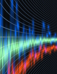 Sound wave oscilloscope/equalizer perspective view
