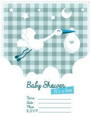 Baby Boy Invitation with Stork