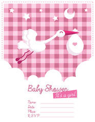 Baby Girl Invitation with Stork