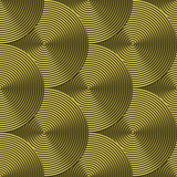 Grooved brass plate with circular swirls - seamless texture