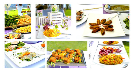 Collage Menu - rich banquet with several courses of appetizers
