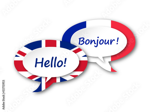 ENGLISH-FRENCH TRANSLATION (language speech bubbles balloons)