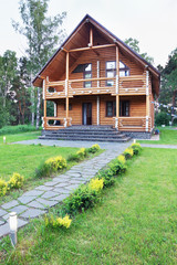 Big Wooden House Made of Logs Near of Forest
