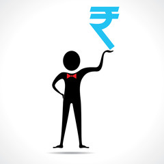 Man holding a rupee symbol  vector