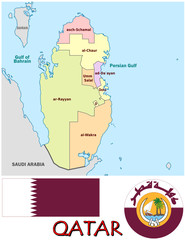 Qatar Middle East national emblem map symbol motto