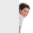 Frau isoliert mit Schild - Werbeschild oder Reklame