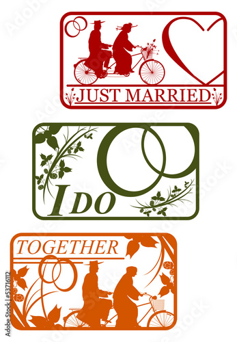 Set of retro stamps with marriage motifs.