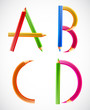 Colorful alphabet of pencils (A, B, C, D). Vector