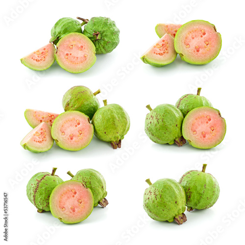 Set of guava isolated on white background