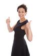 Beide Daumen drücken - junge Frau isoliert in Kleid schwarz