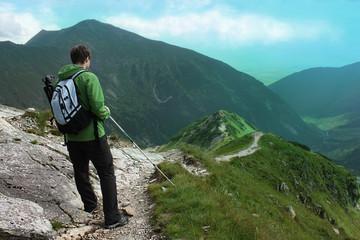 Hiker in the mountain / Long Homeward journey