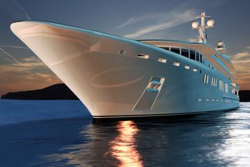 Luxusmotoryacht auf See