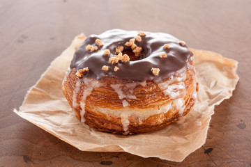 Chocolate and almond croissant and doughnut mixture