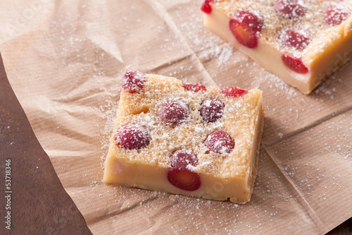 Cherry clafoutis on brown paper
