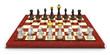 Chess board set up to begin a game