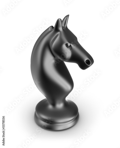 Knight black chess piece. Isolated on white 3d image