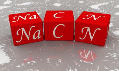Цианид натрия. Формула из красных кубиков