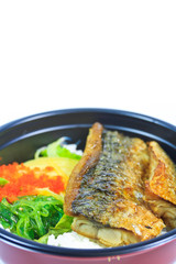 Grilled fish or Saba with rice and also called Shioyaki
